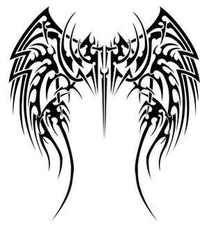 Tribal Angel Wing Tattoos